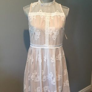 Forever 21 white taupe lace overlay dress
